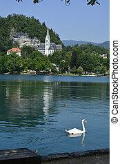 Slovenia, St. Martin church on lake Bled aka Blejsko Jezero