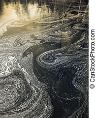 polluted water - Surf twirls of polluted water surface in...