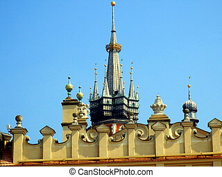 Krakow Skyline - The two towers of Saint Marys Basilica as...