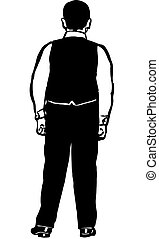 young man in a vest back to us - black and white vector...