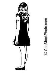 sketch of a beautiful girl from behind - black and white...