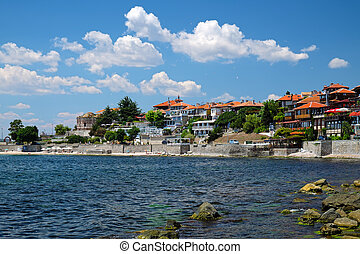 Seaside in ancient city of Nessebar, Bulgaria