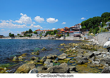 Coast in ancient city of Nessebar, Bulgaria