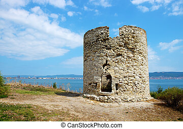 Ancient watchtower in old city of Nessebar, Bulgaria