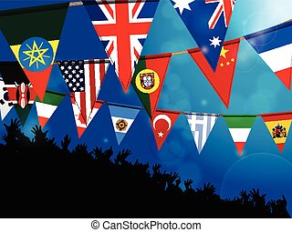 World bunting flags with crowd - World Bunting Flags Over...