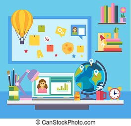 Online education e-learning science concept with book computer and studying icons vector