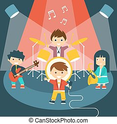Four kids in a music band - Vector illustration of four kids...