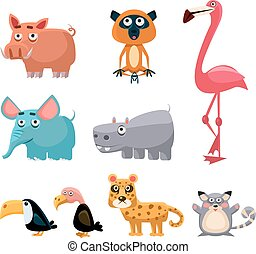 African Animals Fun Cartoon Clip Art Collection. Brightly...