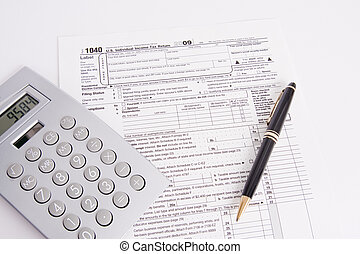 Tax Form Pen and Calculator