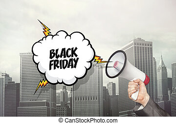 Black friday text on speech bubble and businessman hand...