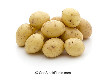 Potatoes on the white background