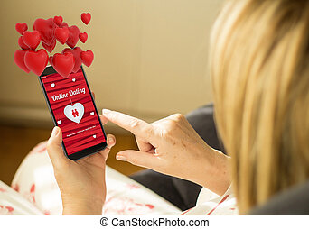 Technology woman online dating with hearts in the air -...