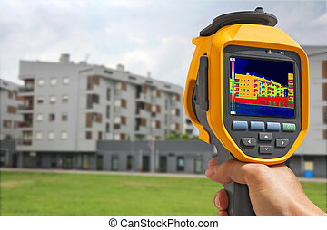 Recording Building With Thermal Camera - Recording Heat Loss...