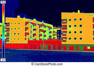 Thermovision image on Residential building - Infrared...