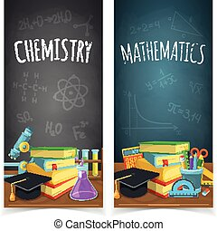 Science classes headers. - Education banners design....