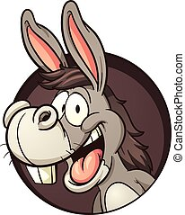 Cartoon donkey coming out of hole. Vector clip art...