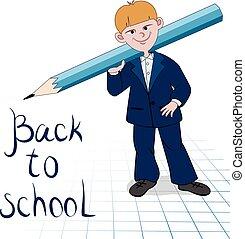 Junge, Groß, schueler, Bleistift