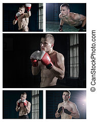 Set photos of a young man who is engaged in boxing or Muay...