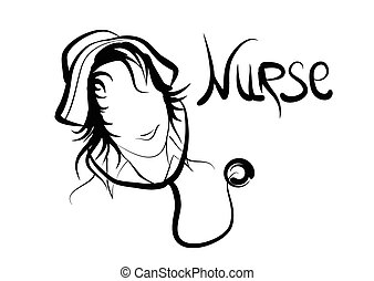 nurse silhouete isolated on a white background