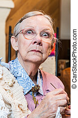 Startled Old Woman with Crochet - Startled old woman with...