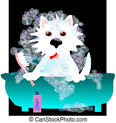 Westie bubble bath - Westie taking a bubble bath in a blue...