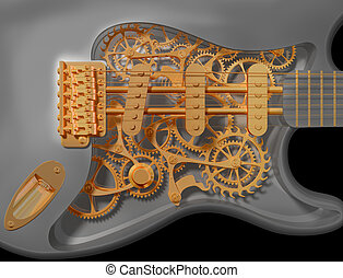 Clockwork guitar - Detail of an original custom clockwork...