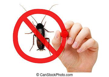 prohibición, señal, cucaracha,