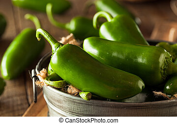 Organic Green Jalapeno Peppers in a Bowl