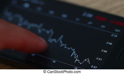 Checking Stock Graphs - A person checking stock market data...