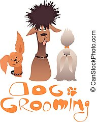 Dog grooming service illustration with three dogs of...