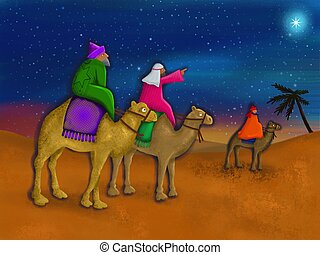 Three Wise Men - A digital Christmas painting of the three...