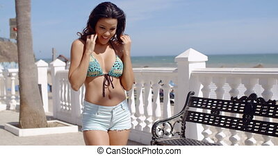 Carefree woman rejoicing on her summer vacation - Carefree...
