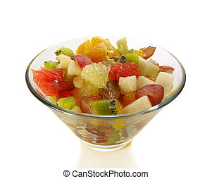fruit salad in salad-bowl isolated over white, ingredients...