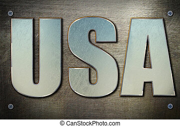 USA concept - USA flag sign on steel background texture