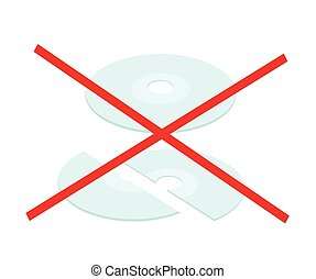 Broken CD or DVD Compact Disc on White Background