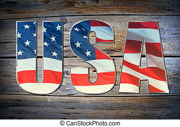 USA flag concept - USA flag sign on old gunge wooden...