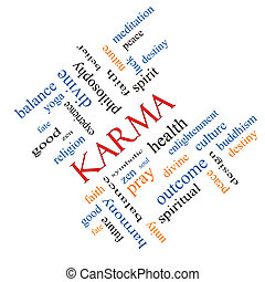 Karma Word Cloud Concept angled with great terms such as...