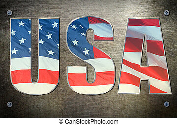 USA flag concept - USA flag sign on steel background texture