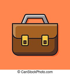 briefcase color line icon