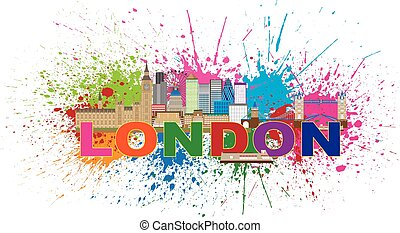 London Skyline Paint Splatter Color Text Illustration -...