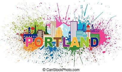 Portland Oregon Skyline Paint Splatter Illustration -...