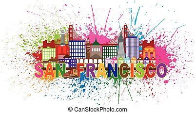 San Francisco Skyline Paint Splatter Illustration - San...