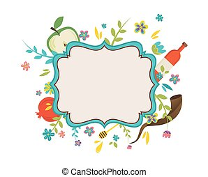 vintage frame surrounding with flowers and Rosh Hashana...
