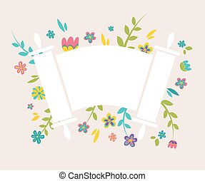 Jewish Torah surrounding with fresh vintage flowers - Jewish...