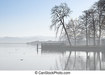 Alpine Landscape with Fog on Lake Starnberger