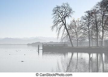 Alpine Landscape with Fog on Lake Starnberger
