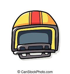 casco, fútbol, garabato