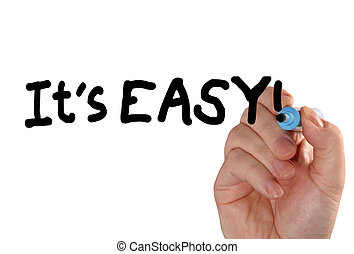its easy hand marker - Closeup of a hand writing a its easy...