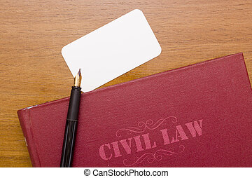 Civil law - Civil Code - the book and business card for a...