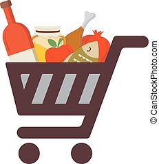 Shopping cart with rosh hashanah traditional food Jewish...
